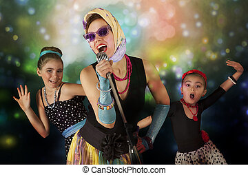 Rockabilly chicks with vintage microphone