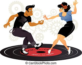Rockabilly cool - Cartoon rockabilly couple dancing on a...