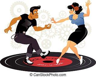 Cartoon rockabilly couple dancing on a vinyl record, gears on the background, ESP 8 vector illustration, no transparencies, no mesh