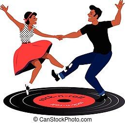 Rockabilly couple dancing on a vinyl record, vector illustration, no transparencies, EPS 8