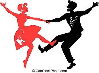 Rockabilly couple dancing silhouett