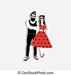 Rockabilly couple vector illustration. Rockabilly style....
