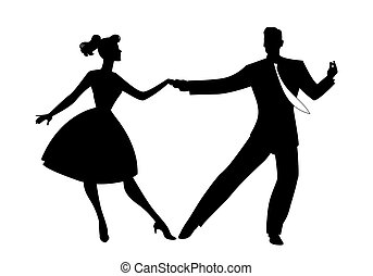 Rockabilly Dance Color-01 - Silhouette of couple wearing ...