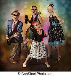 Rockabilly family band having fun