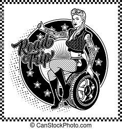 Rockabilly Girl Sitting On A Wheel. Pretty Woman Catches The Car.