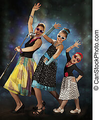 Rockabilly girls singing