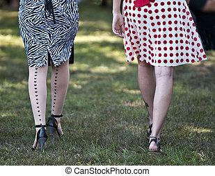 Rockabilly girls - Two girls weraing reto skirts and ...