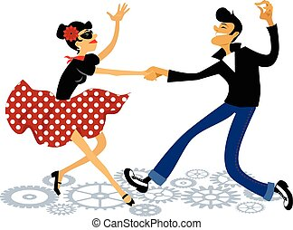 Rockabilly rock - Cartoon couple dressed in rockabilly style...