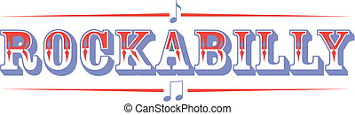Rockabilly music sign clip art in 1950s or fifties western style.