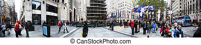 Rockefeller Plaza Christmans Tree Panorama Manhattan New...