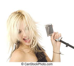 rockender , s�nger, und, mikrophon