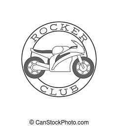 Rocker club retro label in circle