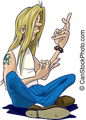 Long haired rock fan doing air guitar, whilst sitting down.
