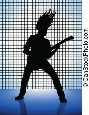 Rocker - Stock illustration of a man playing guitar