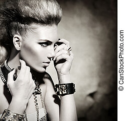 rocker, firmanavnet, mode, pige, sort, portrait., hvid, model