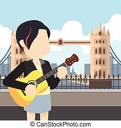 rocker girl holding guitar tour