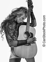 rocker girl with acoustic guitar - Cool rocker girl with...
