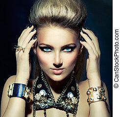 rocker, stil, mode, frisur, portrait., modell, m�dchen