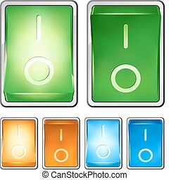 """Illustration of a rocker switch, with both on and off positions. Switch is lighted when in """"on"""" position. Built with several layers for easy editing."""