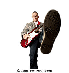 rocker with guitar and foot - rocker with electric guitar ...