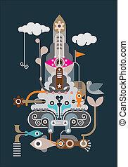 Rocket - abstract vector illustration
