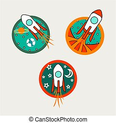 Rocket and Space Badge in Comic Style