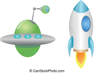 Rocket and UFO - Vector illustration of a rocket and UFO