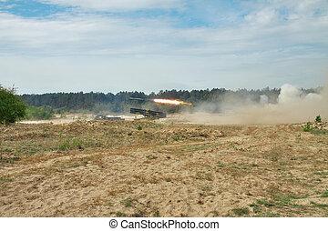 Rocket artillery in action