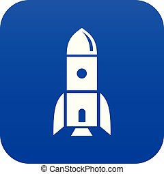 Rocket astronomy icon blue vector