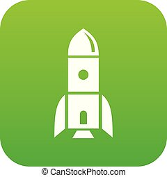 Rocket astronomy icon green vector