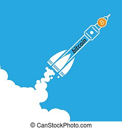 rocket bitcoin icon going up. crypto currency start up ...