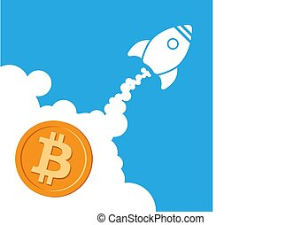 Rocket bitcoin icon going up. Cryptocurrency start up ...