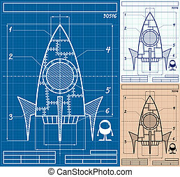 Rocket Blueprint Cartoon - Cartoon blueprint of rocket ship...