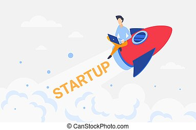Rocket business startup concept, businessman flying on spaceship, working on new idea