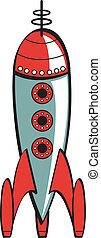 Rocket clip art in retro or vintage 1950s cartoon or scifi style.