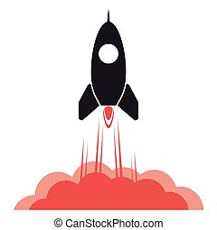 Rocket desing. Spaceship icon. Flat illustration , editable vector