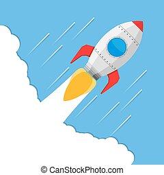 Rocket - Flying rocket, vector eps10 illustration