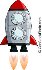 Rocket on a white background, vector illustration