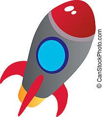 rocket - illustration shows color vectors toy rocket