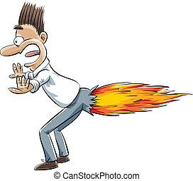 A cartoon man's fart ignites into a rocket blast.