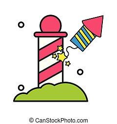 rocket firework explosive isolated icon