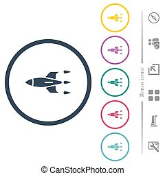 Rocket flat color icons in round outlines