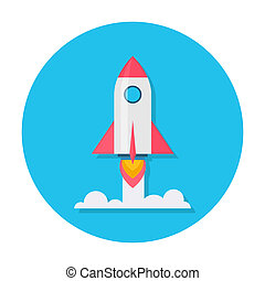 Rocket flat icon.