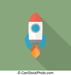 Rocket flat icon. Start Up concept symbol.