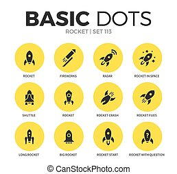 Rocket flat icons vector set