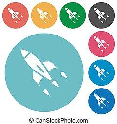 Rocket flat round icons