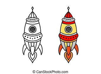 Rocket flies in cartoon hand drawn vector illustration. Can be used for printing on t-shirts, baby clothes design, baby shower invitation card. Coloring book for children
