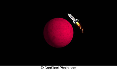 Rocket flies in orbit around red planet similar to Mars....