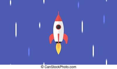Rocket flies through starry sky. Concept background. Motion ...