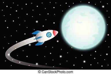 Rocket Flies To The Moon